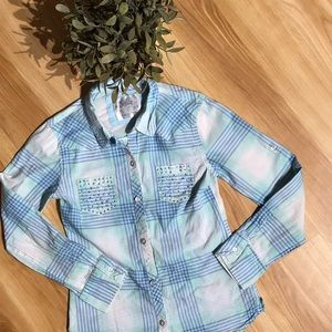 💥3/$25 Justice Bling Flannel Size 8
